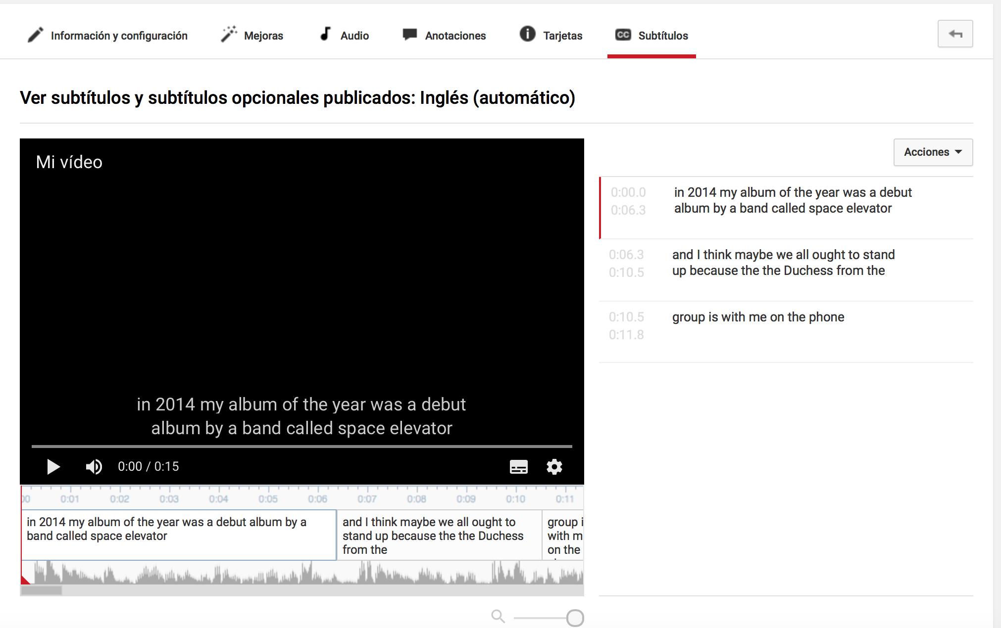 Transcripción automática de audio y vídeo